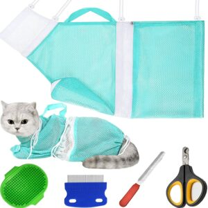 5 Pieces Cat Bathing Bag Cat Shower Net Pet Bag Cat Grooming Washer Mesh Bag Adjustable Breathable Multifunctional Anti-Bite and Anti-Scratch Restraint Bag with Pets Nail Clippers for Cat's Bathing