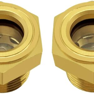 """2pcs 1/2"""" Male Sight Glass Checks Coolant Level or Air Compressor Heavy Duty Solid Brass Sight Glass Super Transparent Glass Sight Window Glass Oil Sight Gauge Easily Threading"""