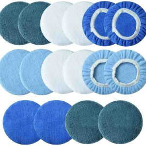 Boltigen Car Polishing Bonnet Pads-16 Pieces 5 to 6 Inches Soft Microfiber Bonnet Buffing Pad Covers Polishing Bonnet for Most 5 to 6 Inches Car Polishers (5-6inch-16pcs 4colors)