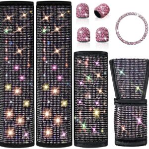 Boltigen Bling Car Accessories for Women Interior Set-6 Pack Diamond Car Accessories with 2 Bling Seat Belt Covers,Bling Gear Shift Cover, Handbrake Cover,Car Ring Sticker, 4 Valve Stem Caps (Pink)