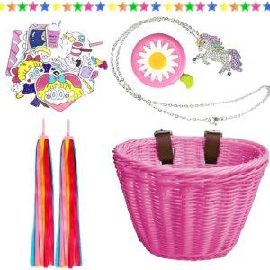 Heyworld Kids Bike Basket, Wicker Basket, Handlebar Bicycle Basket for Girls with Unicorn Necklace, Bike Bell, Streamers, Stickers Bike Decoration Accessories Set